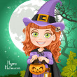 Young witch with a book Trick or Treat — Stock Vector