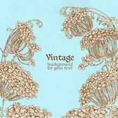 Wild flowers - umbrellas blue vintage background — Stock Vector