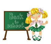 Cute schoolgirl — Stock Vector