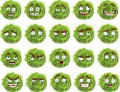 Vecteur dessin animé mignon chou vert sourire avec beaucoup d'expressions — Vecteur