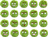 Vector cute cartoon groene kool glimlach met vele expressies — Stockvector