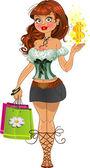 Sweet shopping fashion girl — Stock Vector