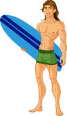 Surf-riding man — Stock Vector