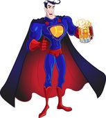 Vecteur de super-héros avec de la bière isolé sur fond blanc — Vecteur