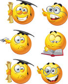 Set of batch education round smiles — Stock Vector