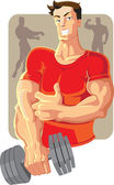 Vector sportsman in red with dumbell — Stock Vector