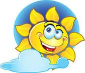 Smiling vector yellow sun — Stock Vector