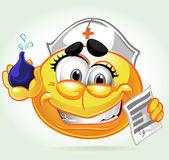 Glimlach in een pak gekke verpleegster met klysma. een reeks van volwassen partij — Stockvector