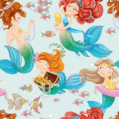 Seamless pattern from mermaid girls with treasures — Stock Vector