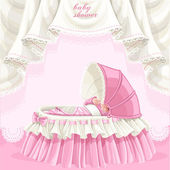 Pink baby shower card with cute little baby in the crib — Stock Vector