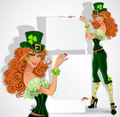 Orange-haired Leprechaun girl with placard for text — Vector de stock