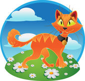 Orange fun terrible cat on color background — Stock Vector