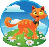 Orange fun terrible cat on color background — Stock Vector