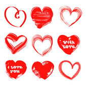 Hearts drawn with a brush and paint by St. Valentine's Day — Stock Vector