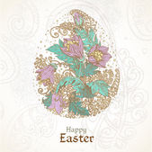 Easter background with delicate egg from flowers — Stock Vector