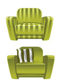 Green soft stripped armchair — Stock Vector