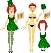 Girl in coquettish dress on St. Patrick's Day with a glass of beer — Stock Vector