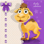 Delicate baby shower card with cute baby camel — Stockvektor