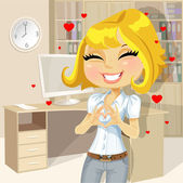 Cute blond girl clasped hands in the heart of the office — Stock Vector