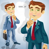 Cute businessman asked to be quiet — Stockvector