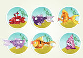 Collection of marine life - fish, crab, snail — Stock Vector