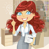 Brown curly hair girl with electronic tablet inspiration idea in — Stock Vector