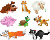 Bis set of funny pig, dogs, cats, sheep, tortoise and fox — Stock vektor