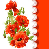 Beautiful postcard with red poppies — Stock Vector