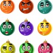 Christmas tree ornaments balls - smiles — Stock Vector