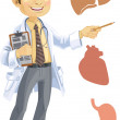Cute doctor - indicating the liver, heart, stomach — Stock Vector