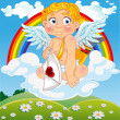 Cupid with love letter on cloud  — Imagens vectoriais em stock