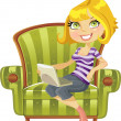 Cute blond girl with a laptop in a green chair — Stock Vector
