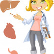 Cute blond girl doctor - indicating at the liver, heart, stomach — Stock Vector