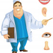 Cute fat doctor showing on part of the face — Stock Vector