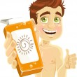 Young man with cream for sunburn — Stock Vector