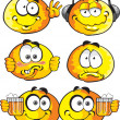 Stock Vector: Set of batch round smiles friends