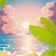 Evening sandy beach — Stock Vector