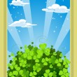 Fairytale landscape with clover — Stock Vector