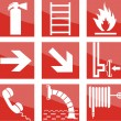 Stock Vector: Fire safety signs
