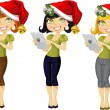 Girl with a pocket computer in a Christmas hat and mistletoe - three color options — Stock Vector