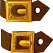 Gold buckle on brown belt hi-res — Stock vektor