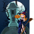 Halloween witch near the magic house — Stock Vector
