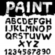 Hand-drawn font on textured paper with paint strokes — Stock Vector