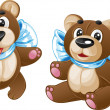 Kids soft toy - cute teddy bear with a bow in different poses — 图库矢量图片