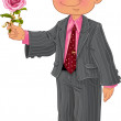 Men in suit make a present pink rose — Stock Vector