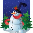 New Year's snowman — Image vectorielle