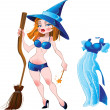 Naked sexy witch with broom and blue dress — Stock Vector