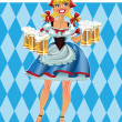Oktoberfest blond girl with beer in short skirt — Stock Vector