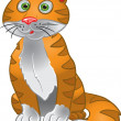 Stock Vector: Orange funny sitting cat