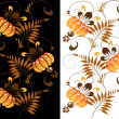 Orange ornament on a black and white background — Stock Vector